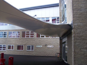 Tensioned canopy - damaged by heavy snowfall
